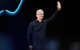 Tim Cook waves to crowd WWDC