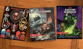 Stickers and two D&D books in the TGT prize pack