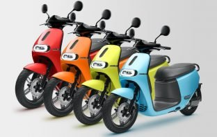 Gogoro EV scooters lined up in four colours