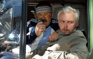 Nick Frost and Simon Pegg in a screenshot from Spaced