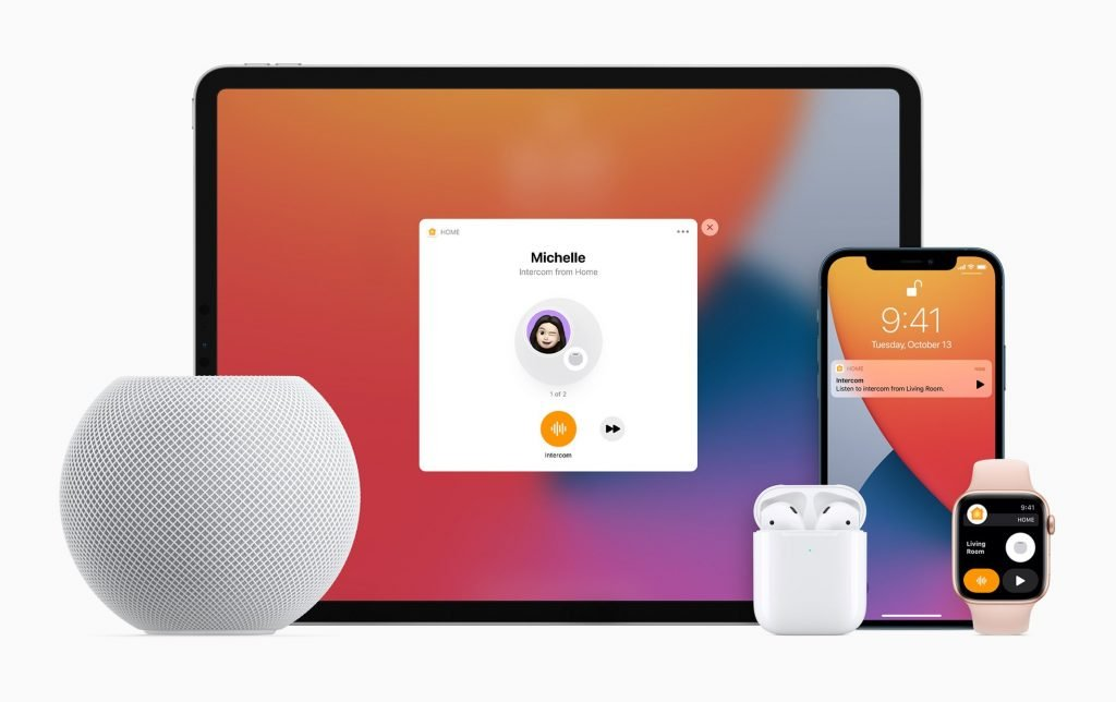 Apple family of devices with HomePod Mini