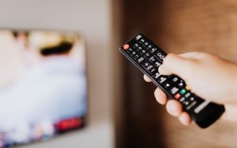 Remote control pointing at television